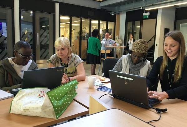 A photo showing digital champions from Phoenix Community Housing at a weekly Digital Zone in Lewisham