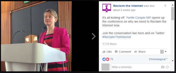 Yvette Cooper MP used Facebook Live for her Reclaim the Internet campaign